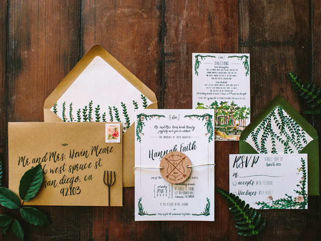Garden Wedding Invitations: Rustic Watercolor Garden Wedding Invitations