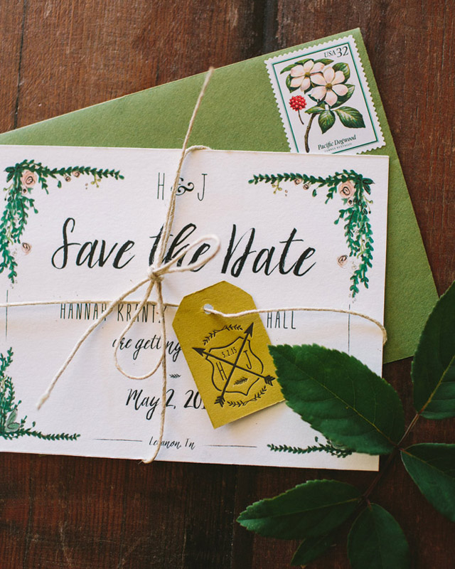 Rustic Watercolor Garden Wedding Invitations by Wide Eyes Paper Co / Oh So Beautiful Paper