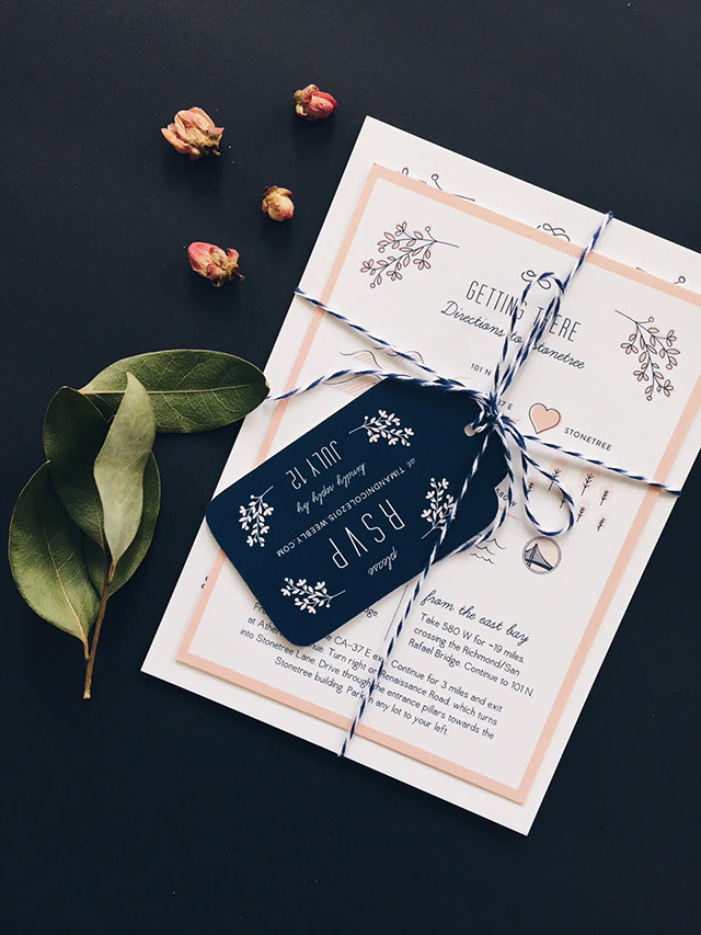 Whimsical Pink and Navy Wedding Invitations