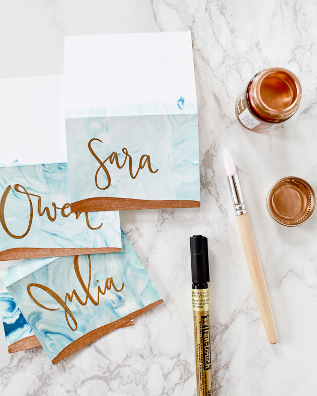 DIY Marbled Place Cards / Oh So Beautiful Paper