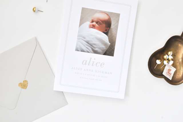 Classic Gray Birth Announcements by Lauren Chism Fine Papers / Oh So Beautiful Paper