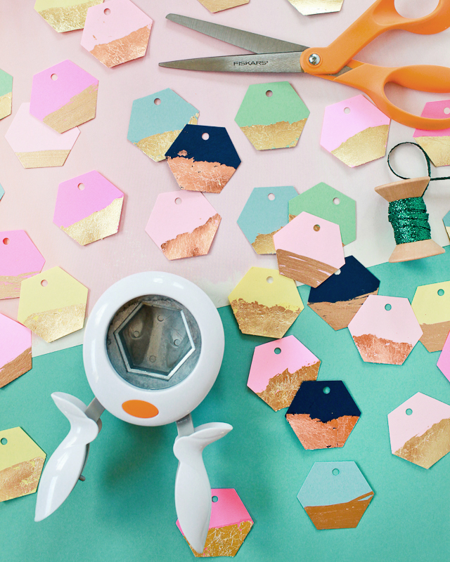 DIY Gold and Copper Leaf Hexagon Gift Tags with Fiskars / Oh So Beautiful Paper