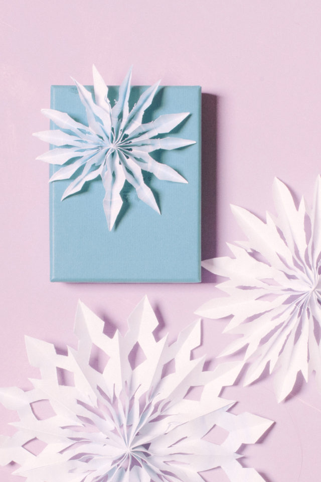 DIY Watercolor Paper Snowflake Gift Toppers / BerinMade for Oh So Beautiful Paper