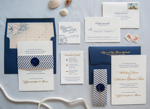 Preppy and Nautical Gold Foil Wedding Invitations by Gus & Ruby Letterpress / Photo by Brea McDonald Photography / Oh So Beautiful Paper