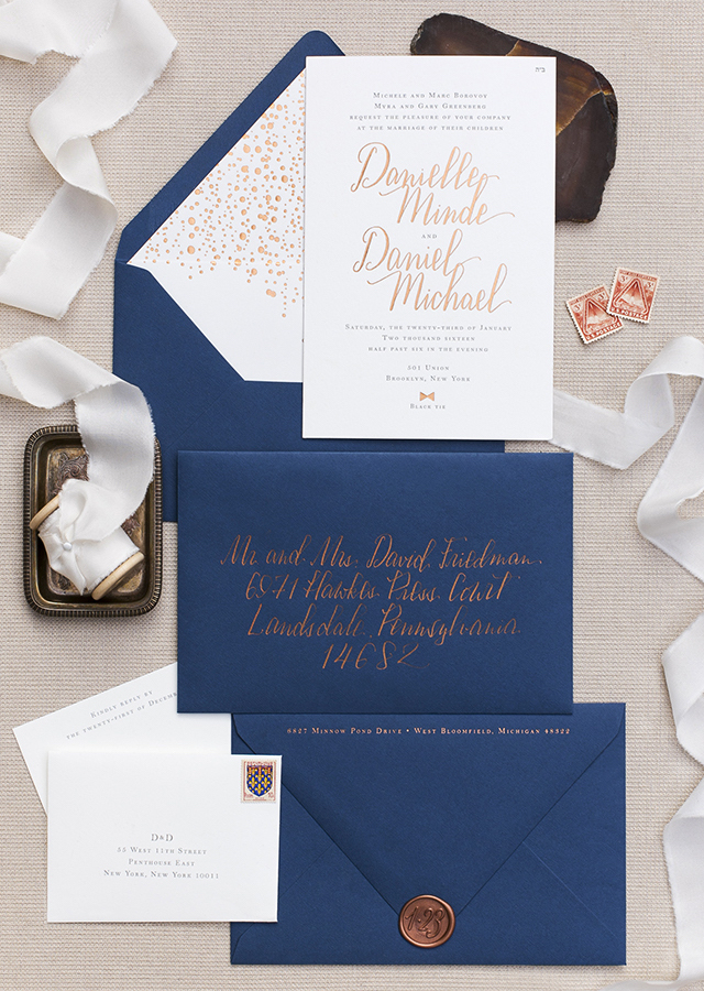 copper foil and navy calligraphy wedding invitations - Navy Wedding Invitations