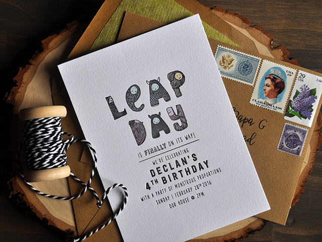 Leap Day Birthday Party Invitations by Darling & Pearl / Oh So Beautiful Paper