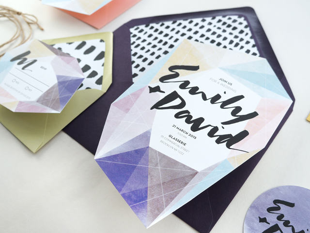 Modern Watercolor Gem Wedding Invitations by And Here We Are / Oh So Beautiful Paper