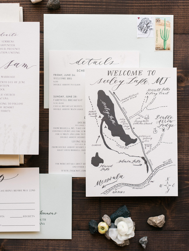 Montana Nature-Inspired Calligraphy Wedding Invitations by Cast Calligraphy / Photo Credit: Orange Photographie / Oh So Beautiful Paper