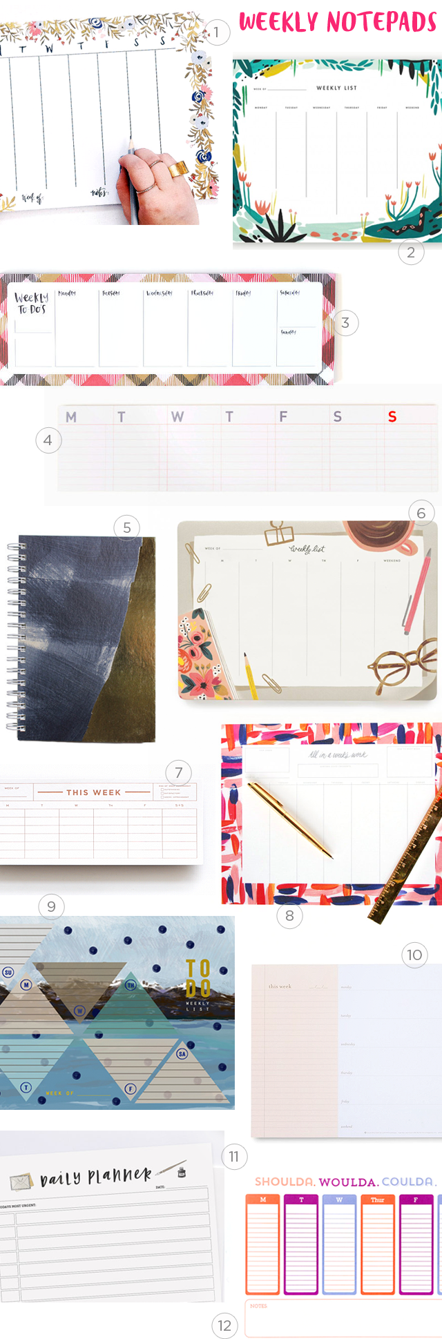 Weekly Planner Notepads Round Up / Oh So Beautiful Paper