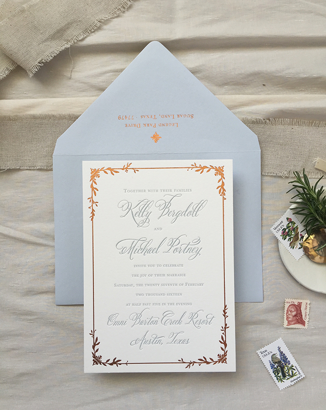 Dusty Blue Letterpress and Copper Foil Wedding Invitations