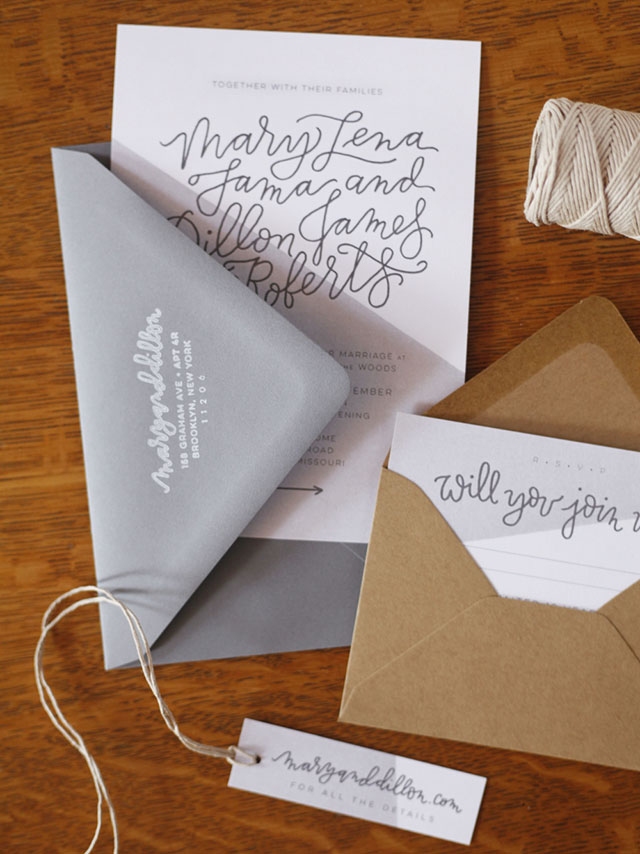 Hand Lettered Invitations for a Wedding in the Woods by Mary Fama / Oh So Beautiful Paper