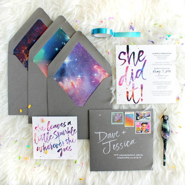 galaxy inspired graduation announcements