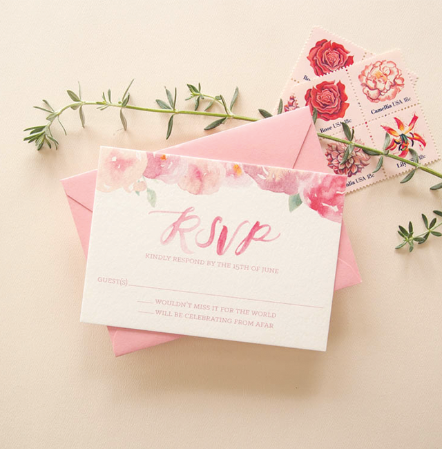 pink floral watercolor wedding invitations