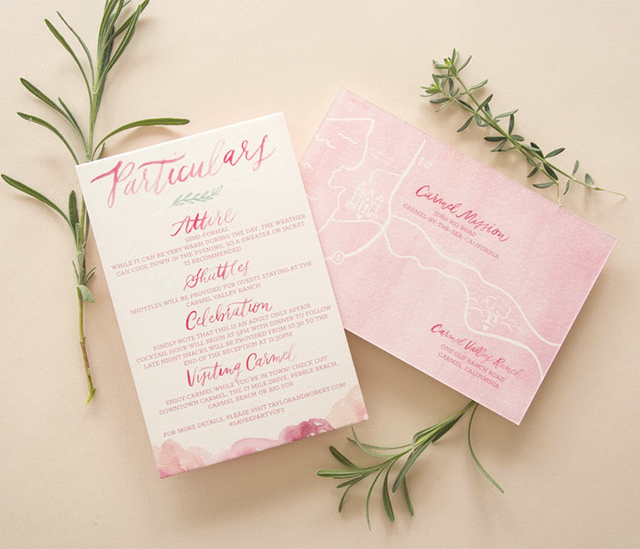 Pink Floral Watercolor Wedding Invitations by Bright Room Studio / Oh So Beautiful Paper