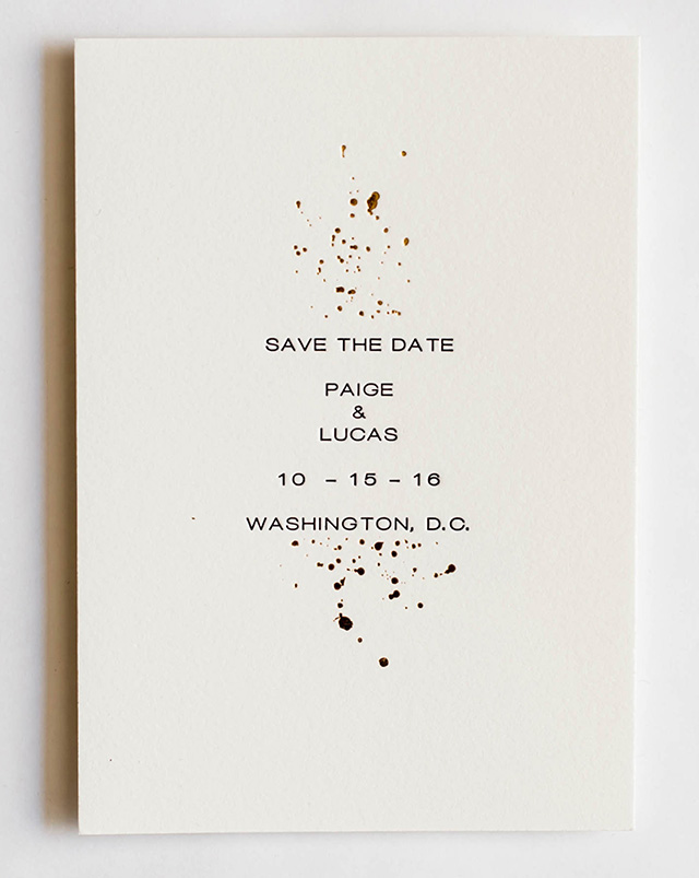 Subtle Gold Foil Splatter Wedding Invitations by Miks Letterpress / Photo by Rachel Lynn Photography / Oh So Beautiful Paper