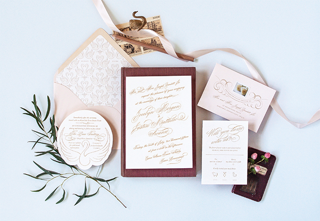Romantic Swan-Inspired Wedding Invitations by Coral Pheasant / Oh So Beautiful Paper