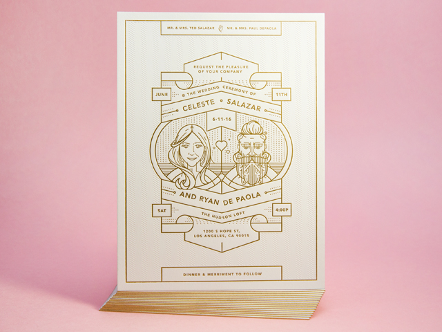 Gold Foil Architecture-Inspired Wedding Invitations by Mama's Sauce / Oh So Beautiful Paper
