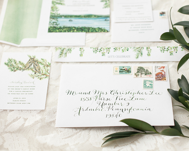 Illustrated Lakeside Wedding Invitations by Lana's Shop / Oh So Beautiful Paper