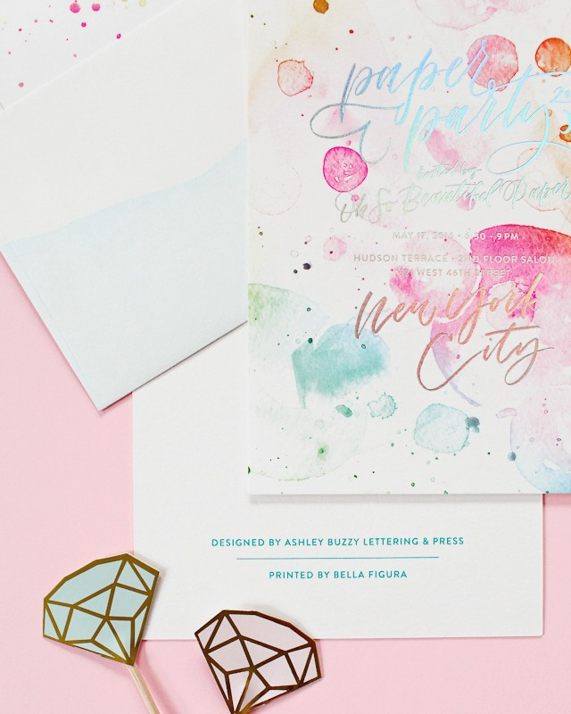Paper Party 2016 Rainbow Watercolor and Hologram Foil Invitations / Design by Ashley Buzzy / Printed by Bella Figura / Oh So Beautiful Paper