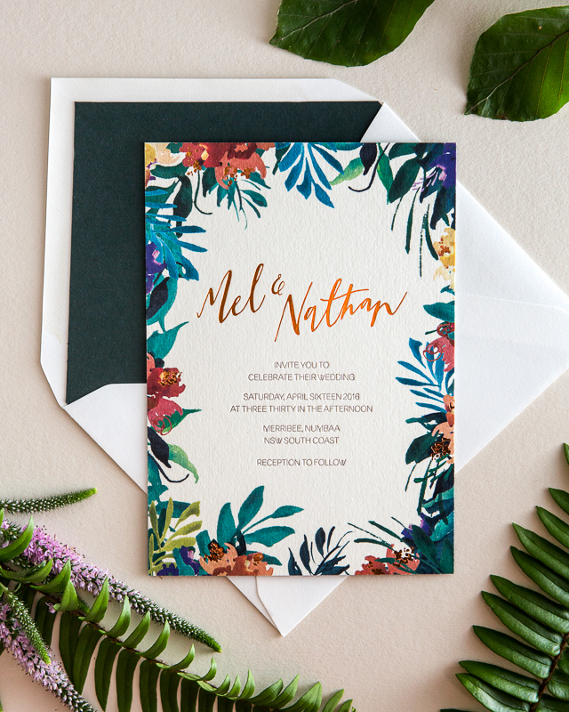 Tropical Garden Party Copper Foil Wedding Invitations