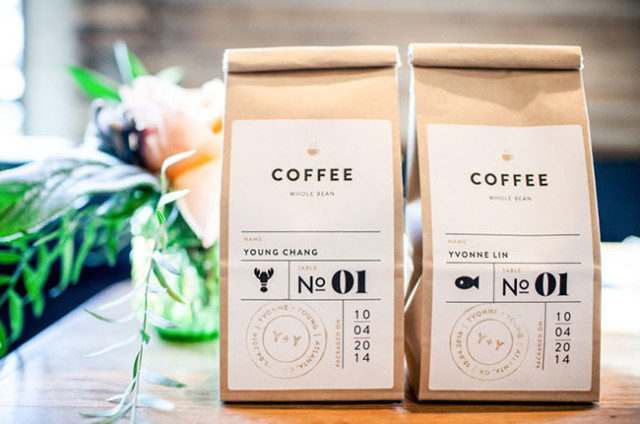 Edible Wedding Favors: Mini Coffee Bags / Photo Credit: Katie Bryant Photography via Green Wedding Shoes