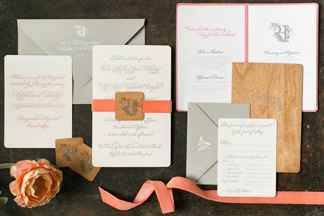 Elegant Rustic Coral Wedding Invitations