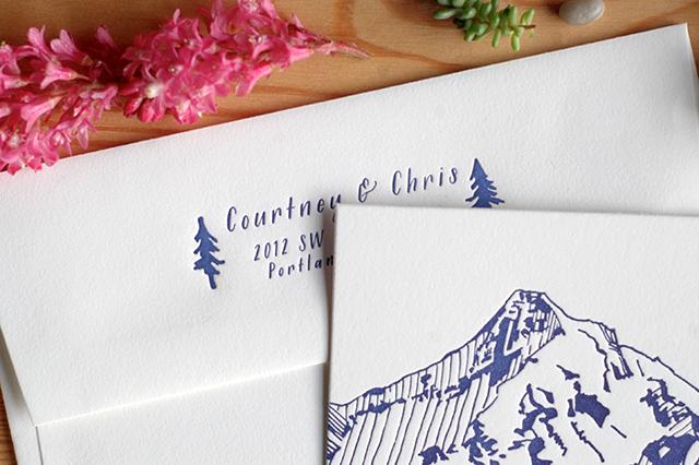 Illustrated Wedding Invitations: Illustrated Mountain Wedding Invitations