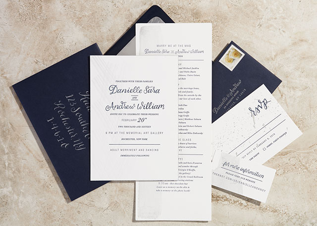 Navy and Silver Hand Painted Wedding Invitations by Sugar and Type / Oh So Beautiful Paper