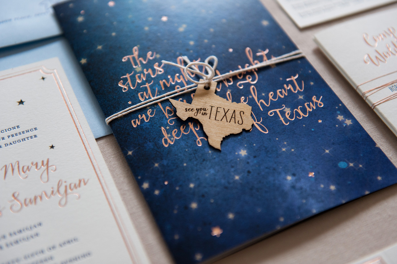 rose gold foil night sky wedding invitations by gus ruby letterpress photo credit