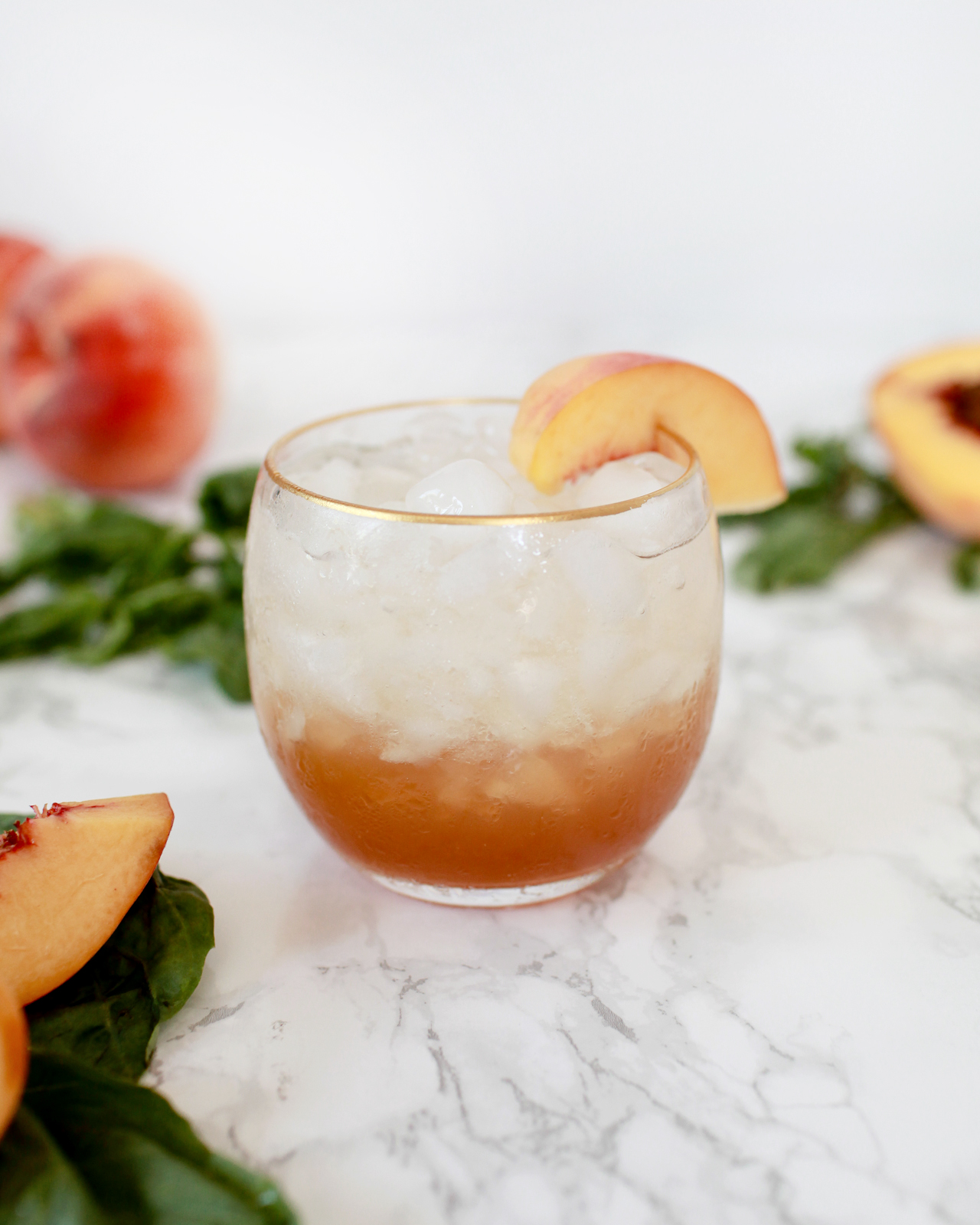 Peach-Basil Shrub Cocktail and Mocktail Recipe / Liquorary for Oh So Beautiful Paper