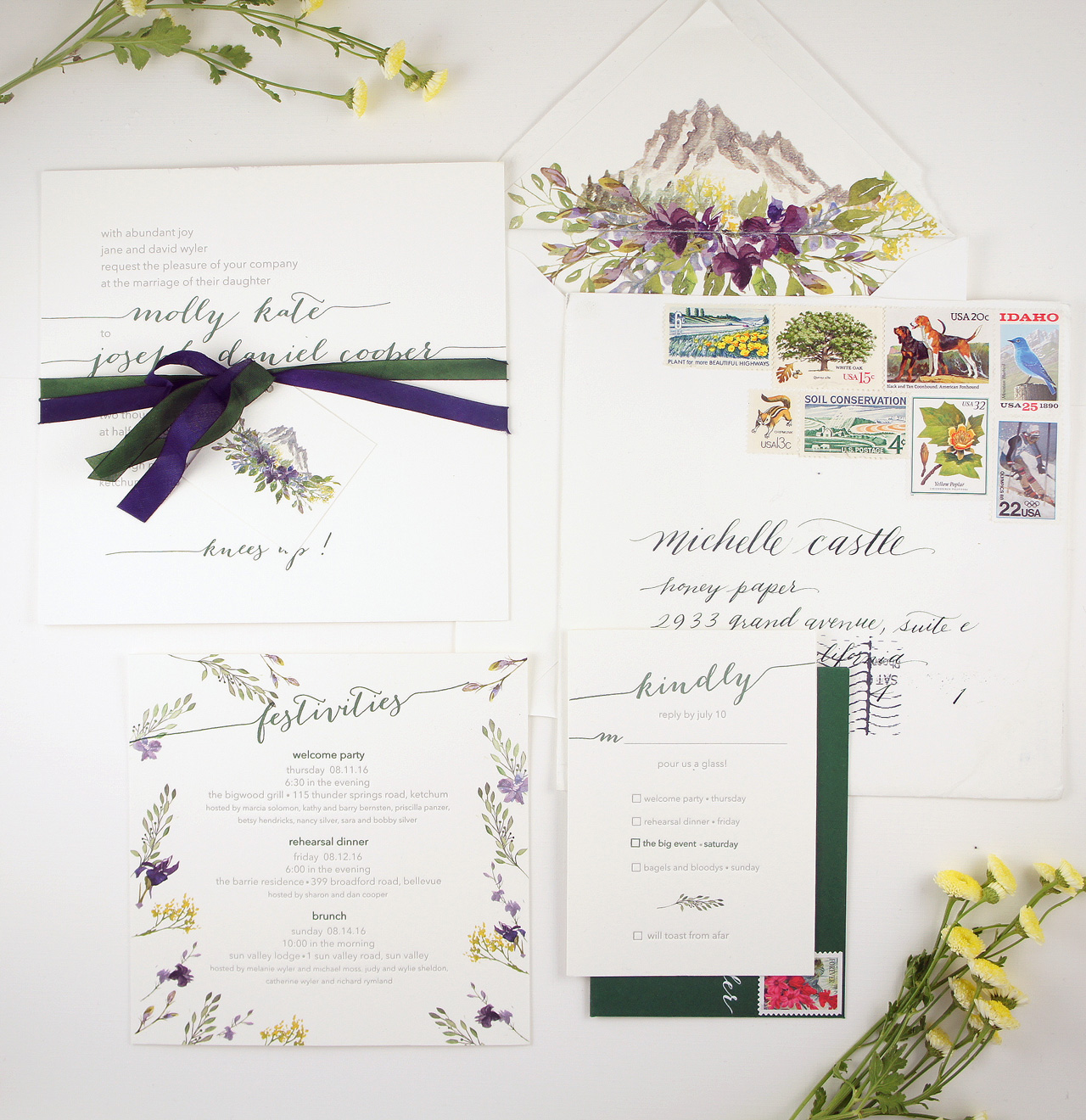 Illustrated Wildflower Wedding Invitations by Honey Paper