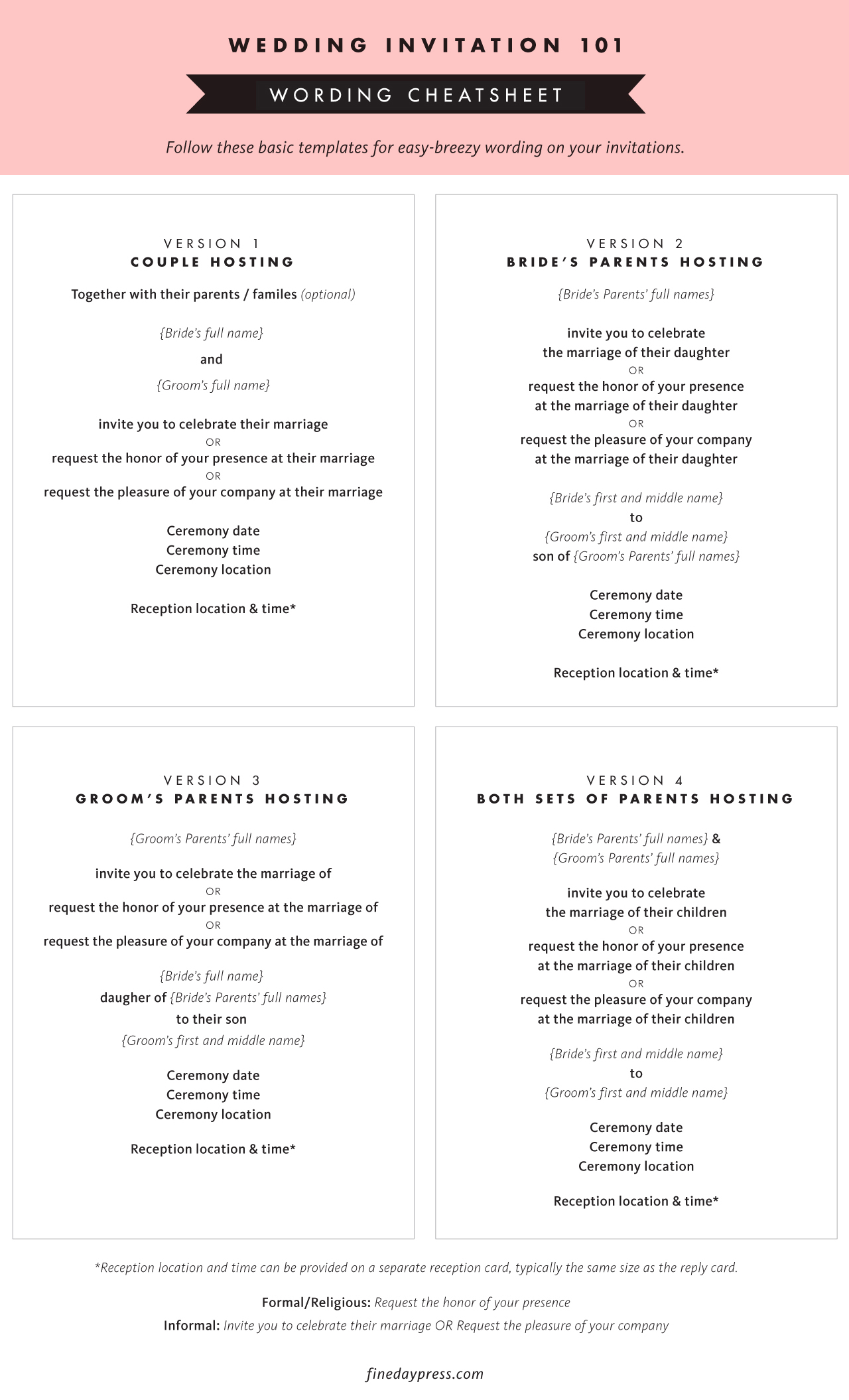 Wedding Invitation Wording Cheat Sheet / Fine Day Press for Oh So Beautiful Paper