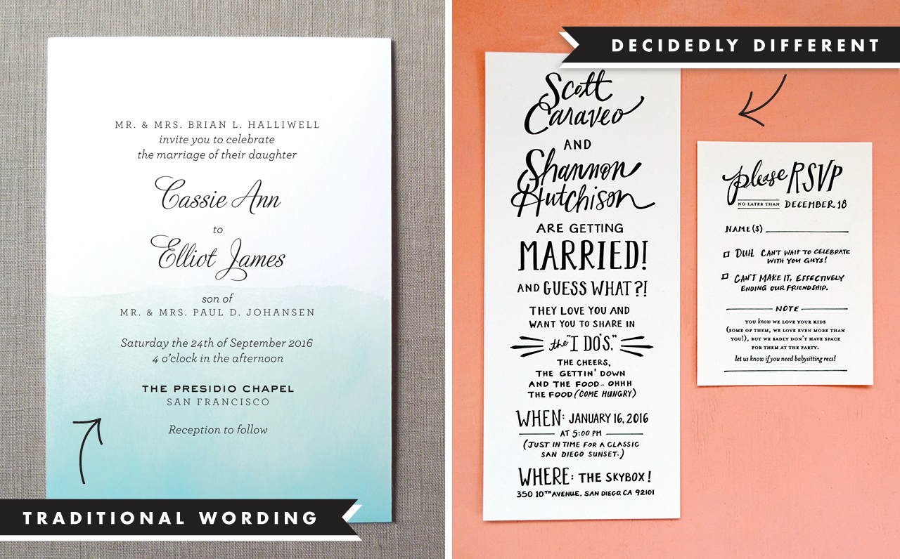 Wedding invitation wording and etiquette wedding invitation wording examples stopboris Image collections