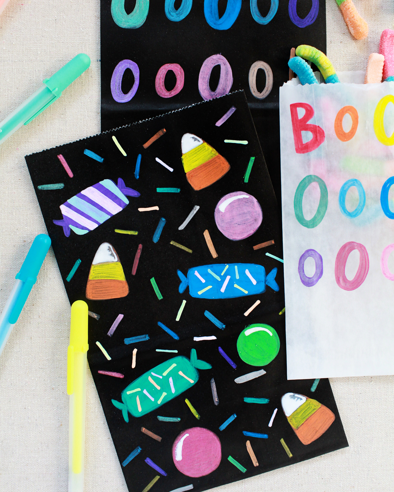 DIY Colorful Halloween Treat Bags
