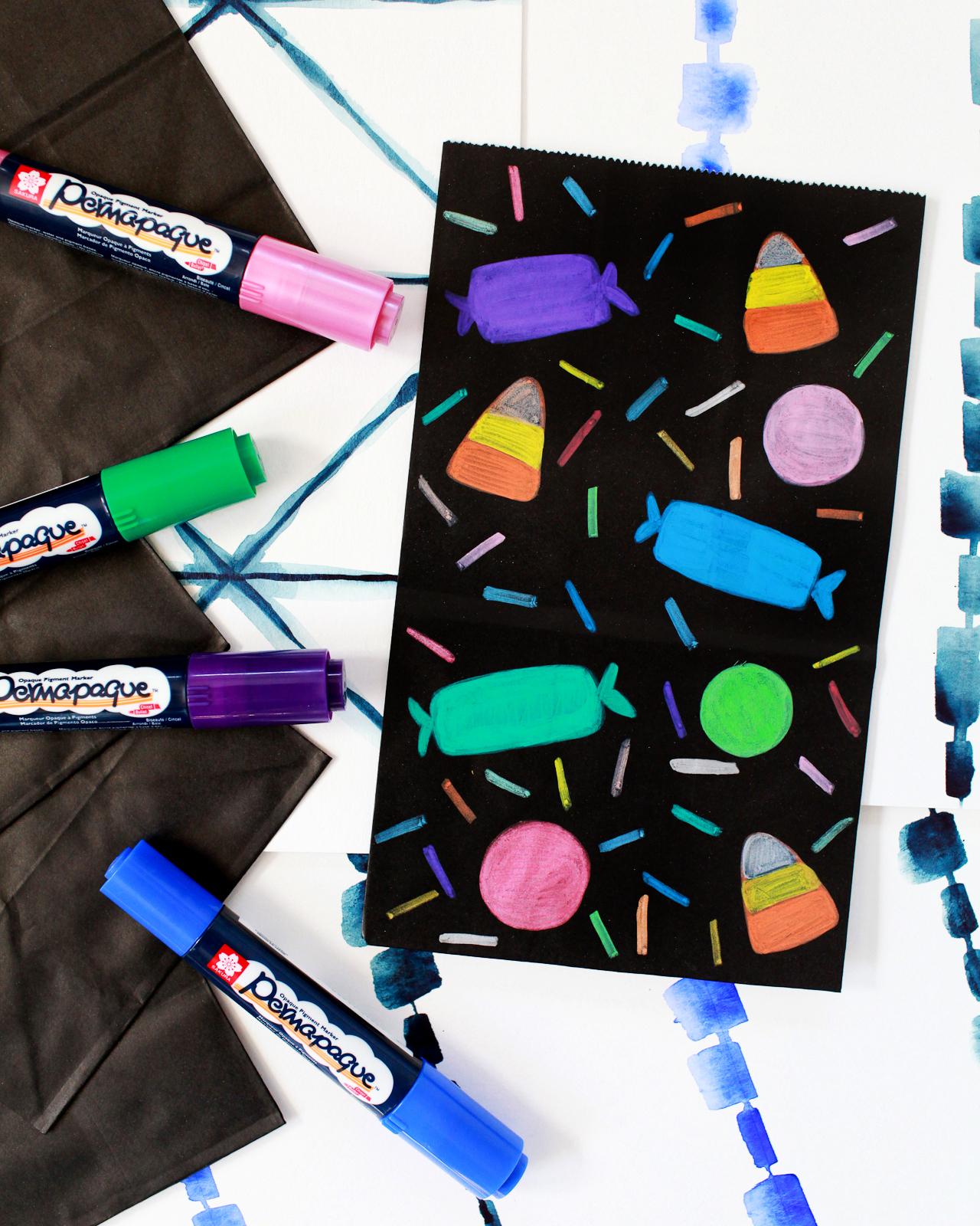 DIY Colorful Halloween Treat Bags
