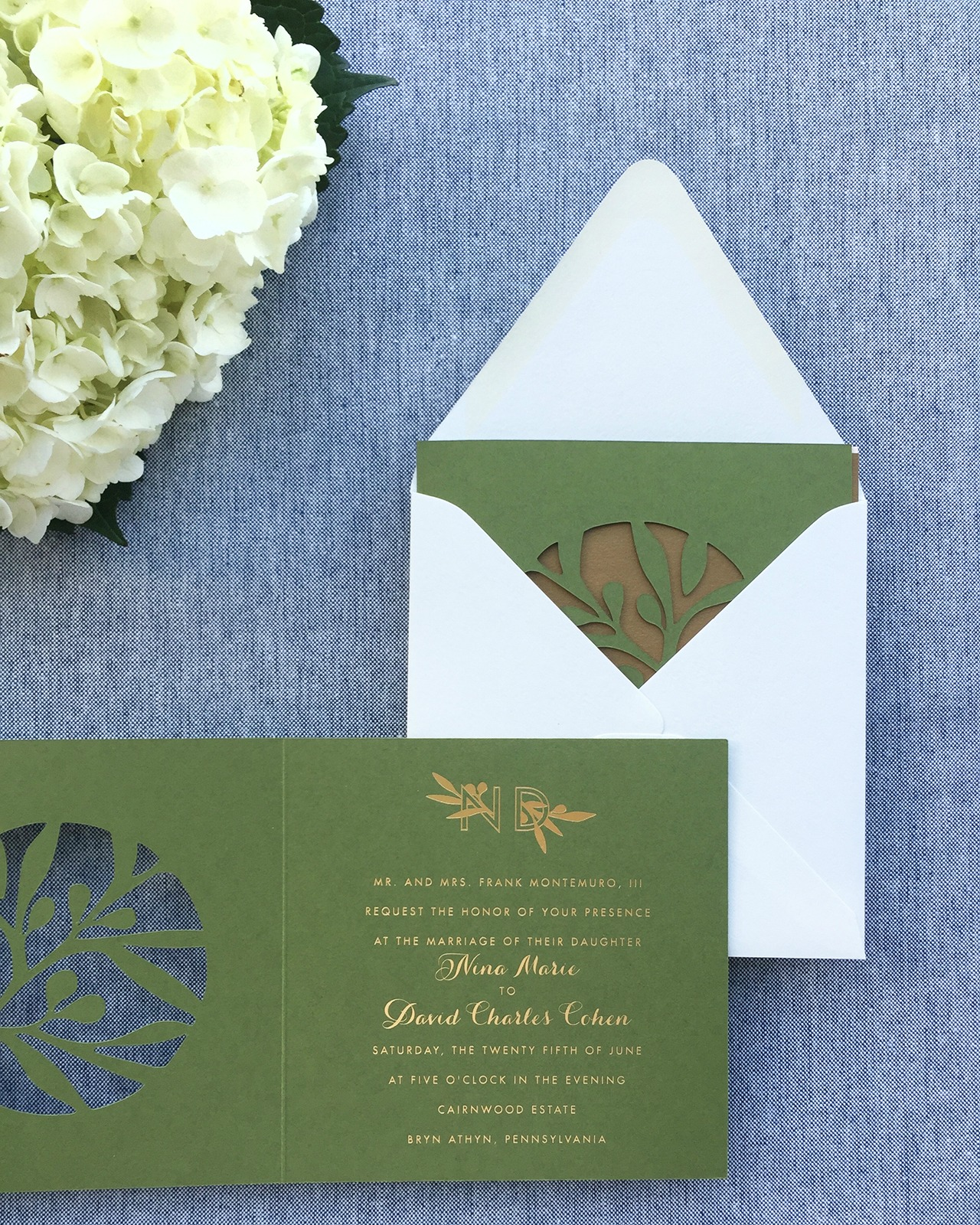 Modern Lasercut Olive and Gold Foil Wedding Invitations by Charm and Fig