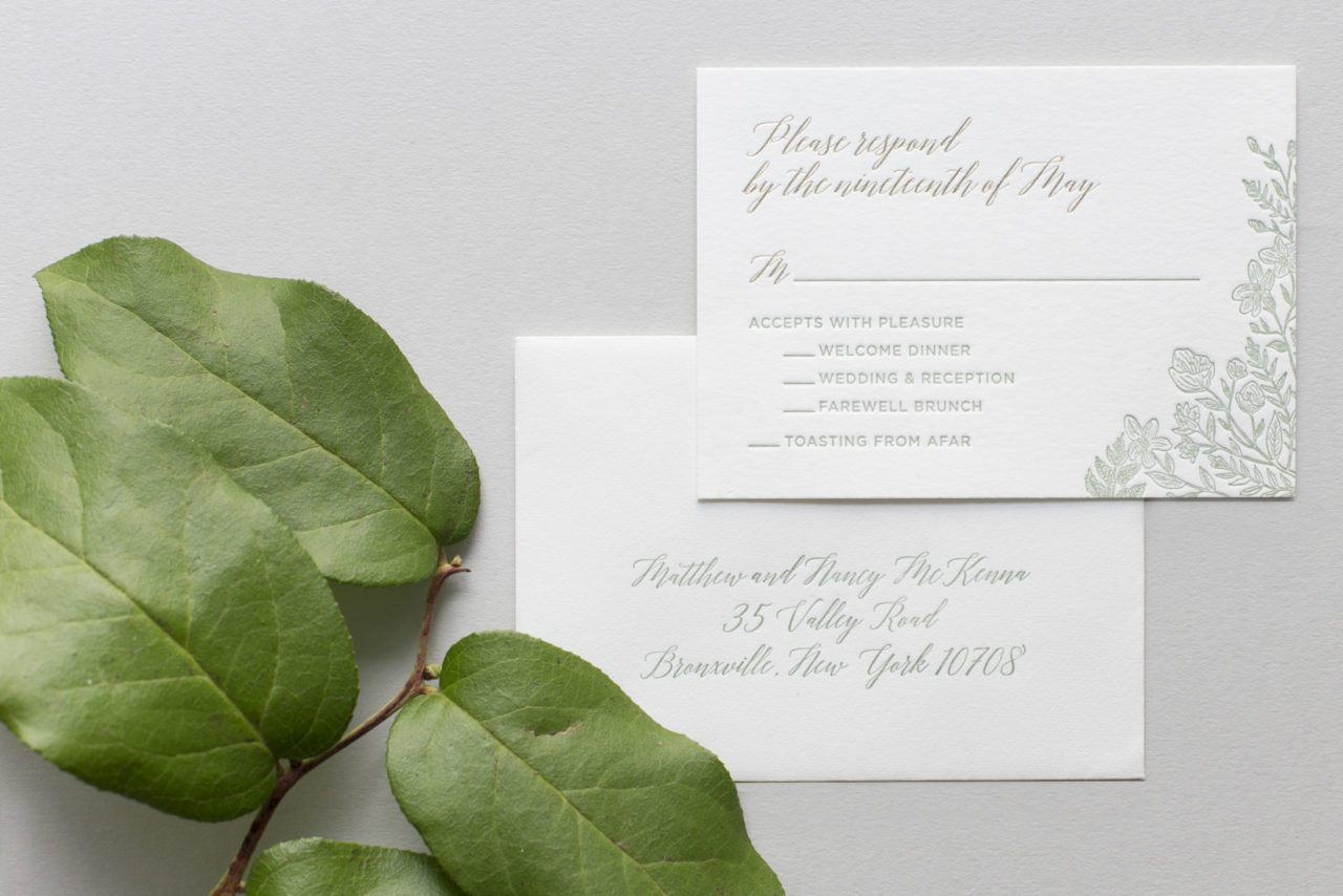Monochromatic Illustrated Botanical Wedding Invitations by Fourteen Forty