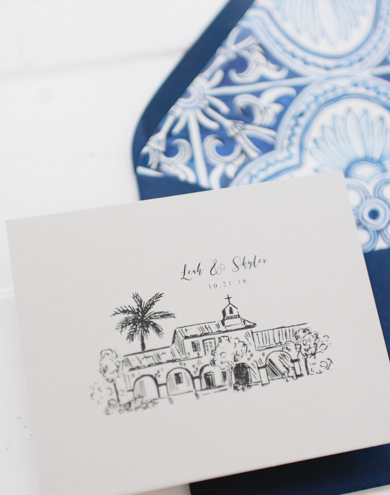 Navy and White Mediterranean Inspired Wedding Invitations by Robinson Paperie
