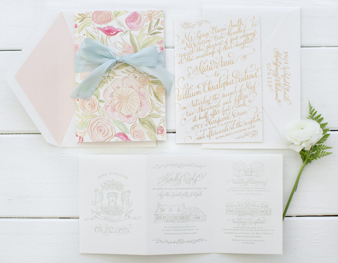 Romantic Gold Foil Calligraphy Wedding Invitations by Kara Anne Paper