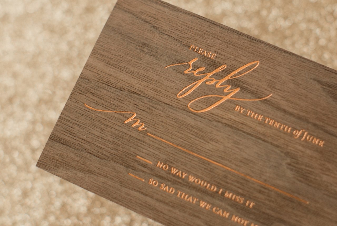Rustic Boho Wood And Copper Foil Wedding Invitations