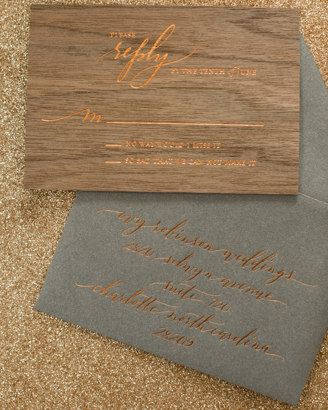 Rustic Boho Wood and Copper Foil Wedding Invitations by Atheneum Creative