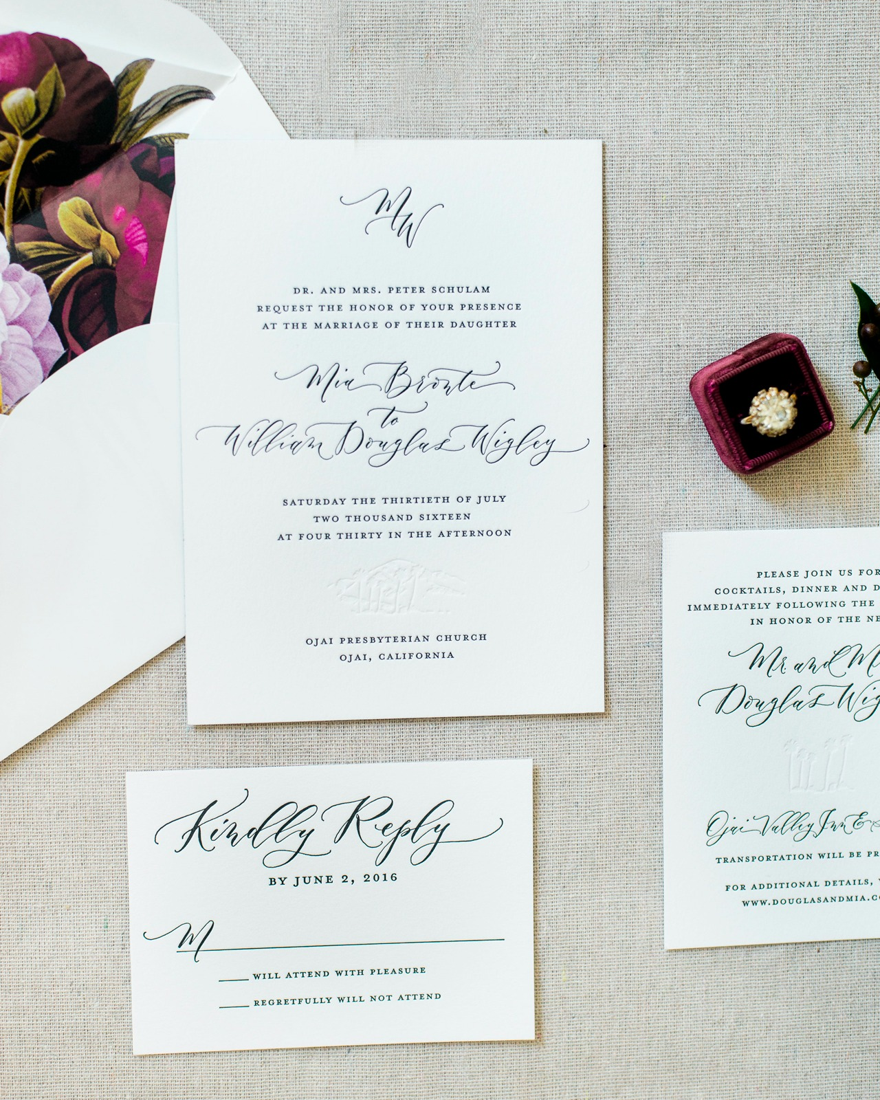 Timeless Black and White Wedding Invitations by Ruby the Fox
