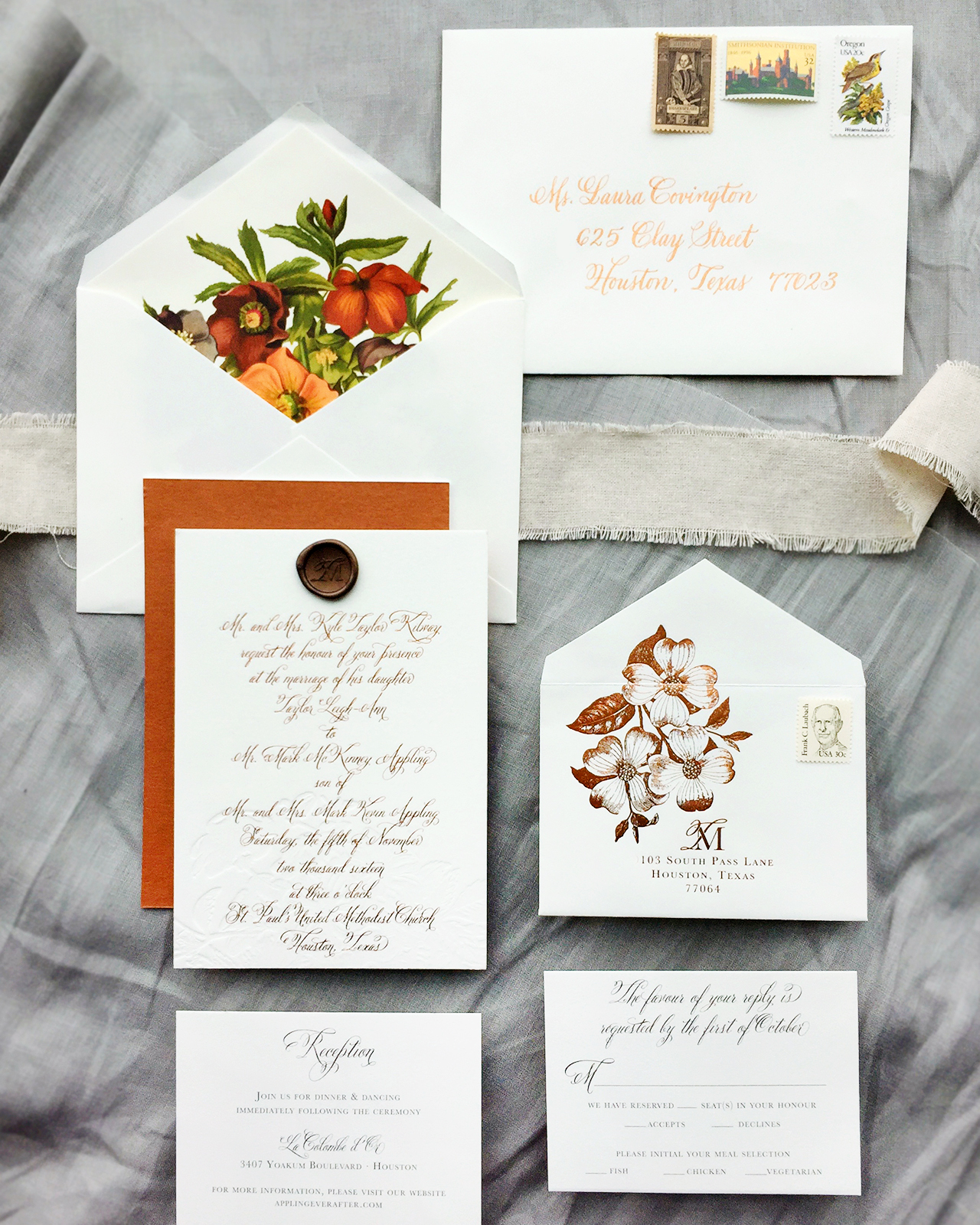 Autumn Floral Copper Foil Wedding Invitations