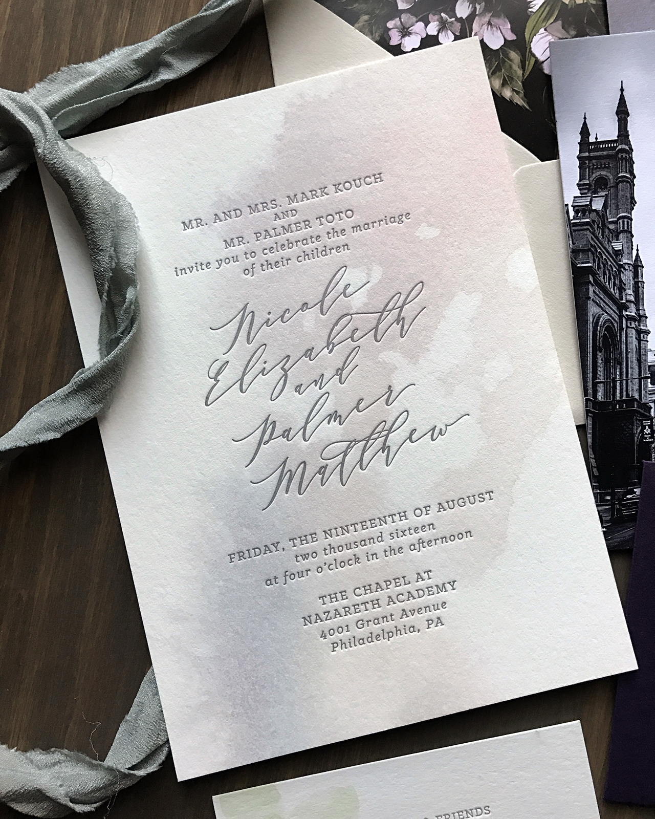 Purple and Gray Watercolor Wash Wedding Invitations by Darling and Pearl