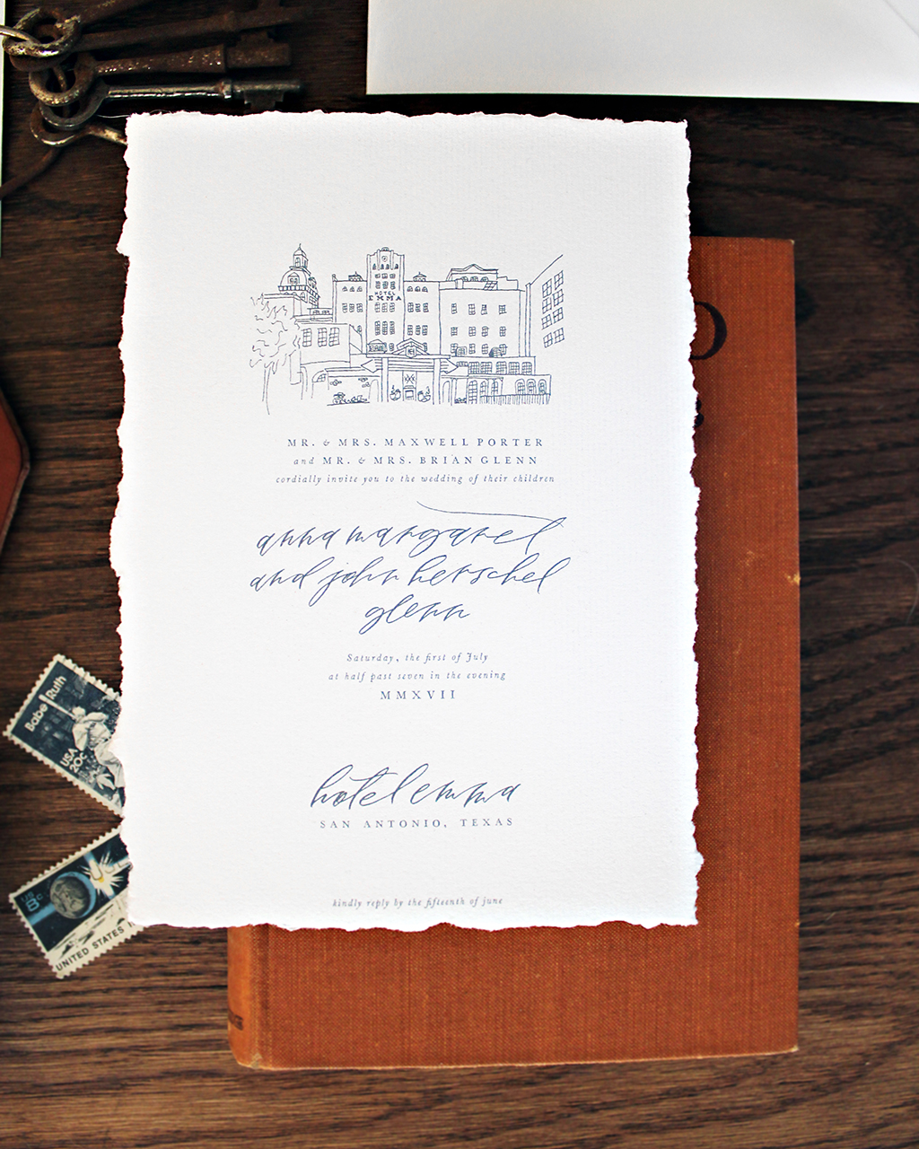 Elegant Monochromatic Calligraphy Wedding Invitations by Lazywood Lane