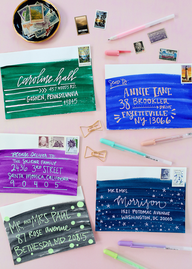 Best of 2016: DIY Colorful Watercolor Envelope Address Ideas