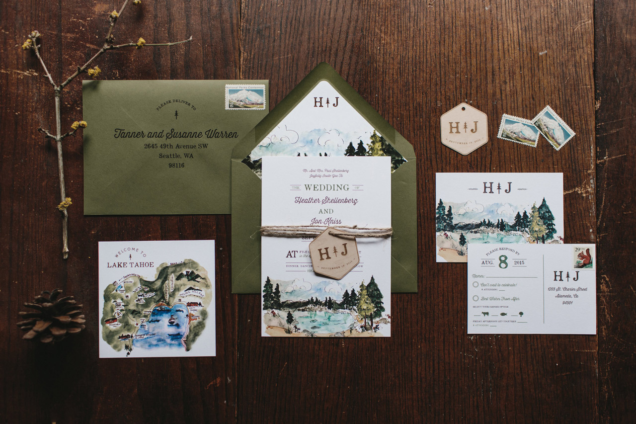 Illustrated Lake Tahoe Inspired Wedding Invitations by Wide Eyes Paper Co.