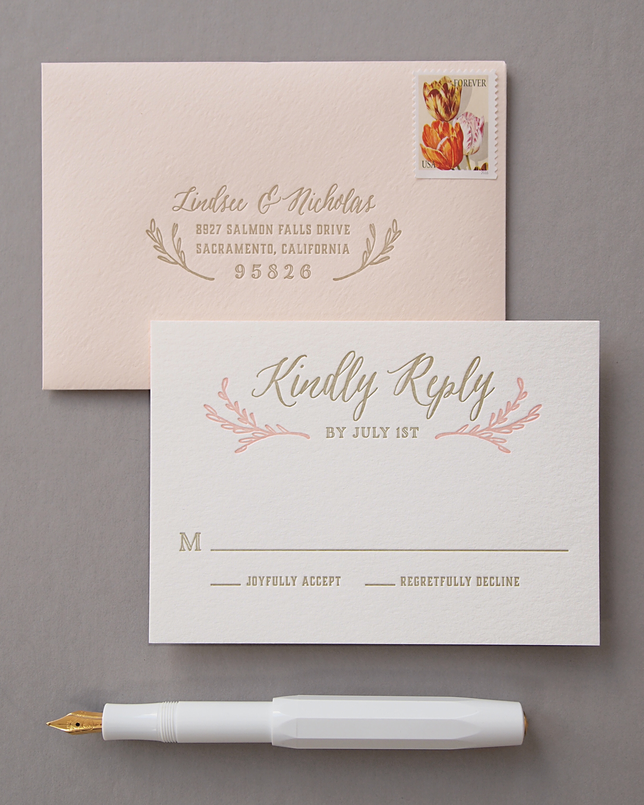 Elegant Blush and Gold Letterpress Wedding Invitations by Missive