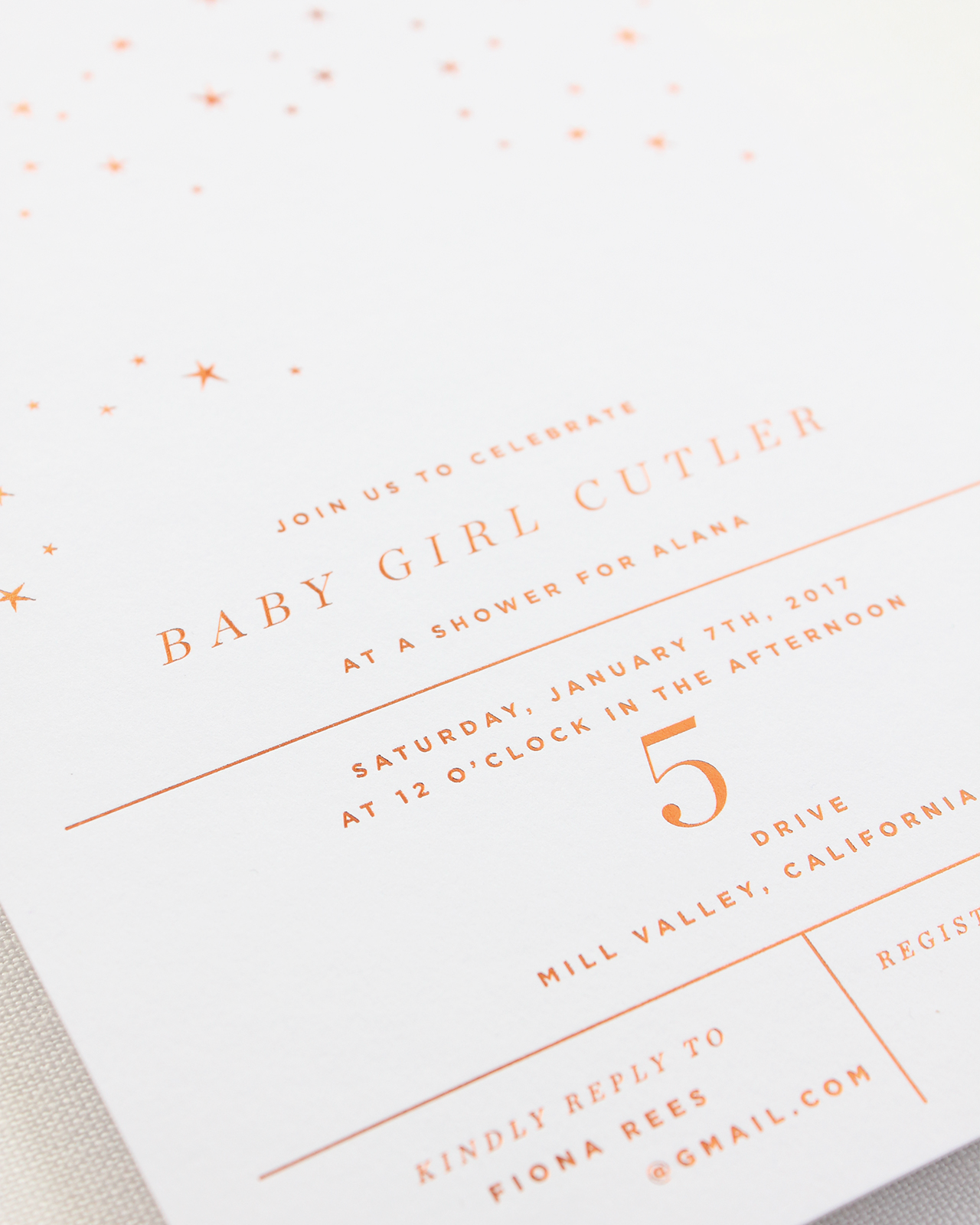 Refined Copper and Burgundy Star Inspired Baby Shower Invitations by Bourne Paper Co.
