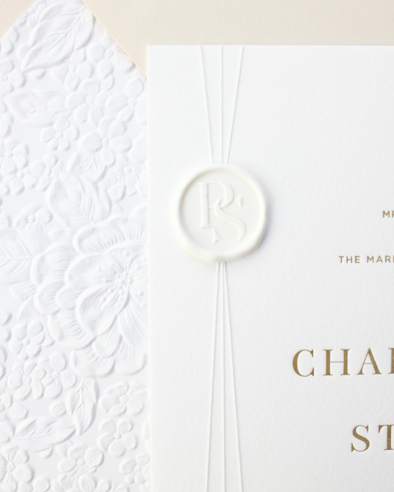 Refined Modern Neutral Letterpress Wedding Invitations by Bourne Paper Co.